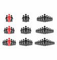 people icon set crowd of people in black and red vector image vector image