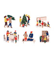 preparing christmas people celebrating winter vector image vector image