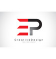 red and black ep e p letter logo design creative vector image vector image