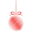 red decor christmas tree ball with strips for vector image vector image