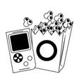 retro videogame and pop corn box vector image vector image