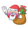 santa with gift jelly ring candy mascot cartoon vector image