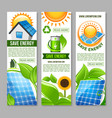 save energy banner with green house solar panel vector image vector image