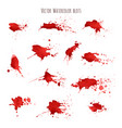 set of bloody red watercolor blots splashes vector image vector image