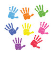 set of colorful hand prints vector image