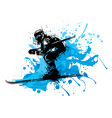silhouette of a skier whit snow vector image vector image