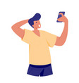 surprised man looking at smartphone vector image