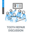 tooth repair dentists team discussion linear icon vector image vector image