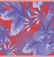 tropical blue leaves seamless pattern red vector image vector image