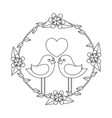 two happy cute bird in love with the heart in vector image vector image