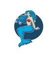 underwater beautiful mermaid girl cartoon image vector image vector image