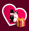 wedding greeting card with paper gift box with vector image vector image
