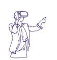 woman sketch wearing 3d glasses virtual reality