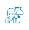 working as a cleaner linear icon concept working vector image