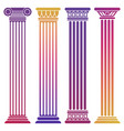 bright ancient columns set on white background vector image