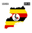 uganda map border with flag eps10 vector image
