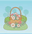 beautitul eggs painted in basket with flowers vector image vector image