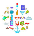 beyond the sea icons set cartoon style vector image vector image