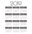 calendar 2019 year simple template vector image vector image