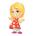 cartoon cute little girl vector image vector image