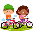 children riding their bicycles at park vector image