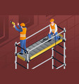 constructors on scaffold banner isometric style vector image