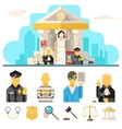 Courthouse Law Icons Set Justice Symbol Concept on vector image