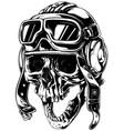 crazy smiling old human skull in aviator helmet vector image vector image