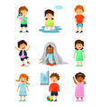 cute little kids with different emotions set vector image