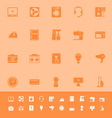 Electrical machine color icons on orange vector image