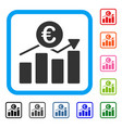 euro business chart framed icon vector image vector image