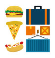 fast food and delivery elements vector image