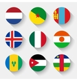 Flags of the world round buttons vector image vector image