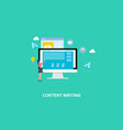 flat design writing blogging content vector image vector image