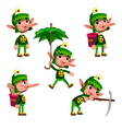 Funny dwarf in different poses vector image vector image