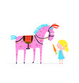 girl feeding circus horse with carrot vector image vector image