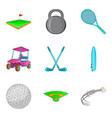 golf club icons set cartoon style vector image