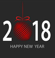happy new 2018 year greeting card with red decor vector image vector image