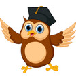 Happy owl cartoon wearing graduation cap vector image