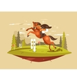 Horse and rider jumping hurdles vector image