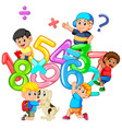 kids playing with big number vector image vector image
