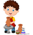 little happy boy produced on potters wheel pot vector image vector image