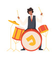 man playing drums male jazz musician character in vector image vector image
