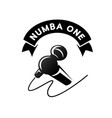 number one logo with hand held microphone vector image vector image