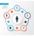 people icons set collection of member jogging vector image vector image