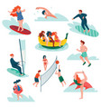 people relaxing at summer vacation set young man vector image vector image