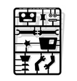 robot parts cut out and assemble template vector image