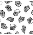 seamless pattern from black seashell vector image vector image
