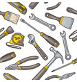 seamless pattern set hardware tools vector image
