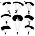 Set skydiver silhouettes parachuting vector image
